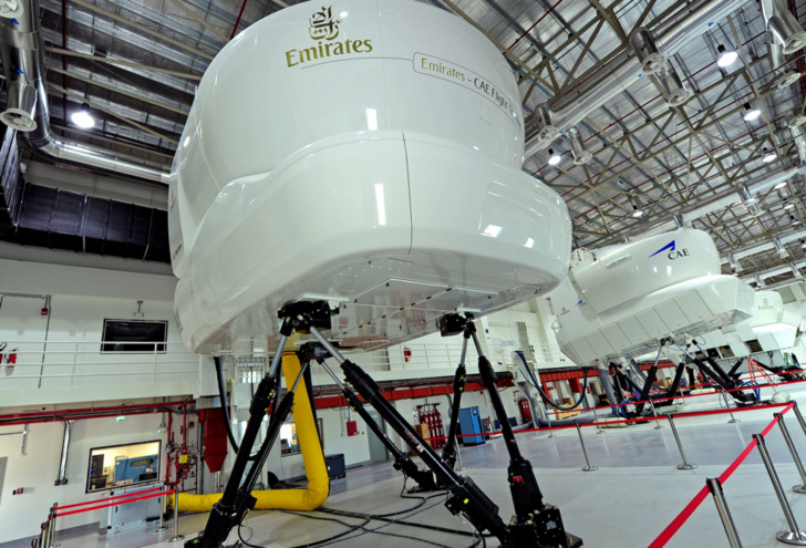 CAE flight simulators in Emirates training center